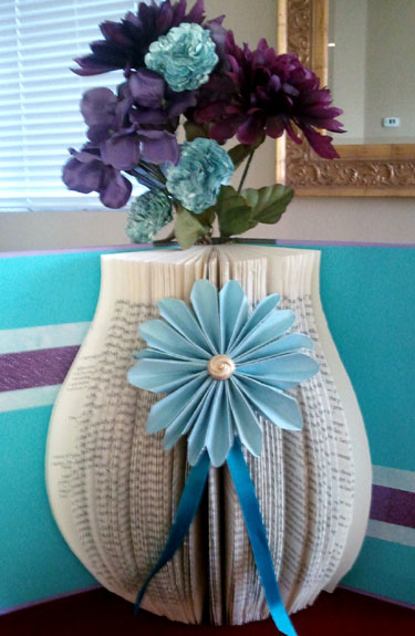 Altered Book Vase With Paper Flowers