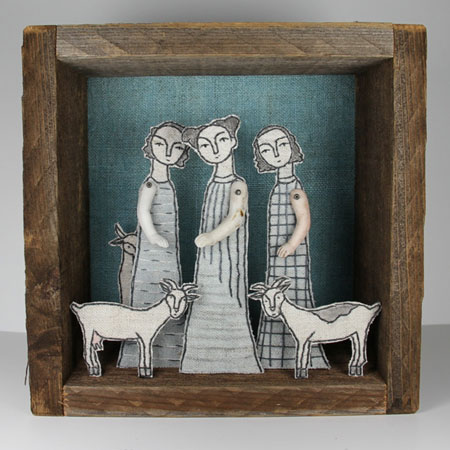 Girls and Goats Fiber Diorama