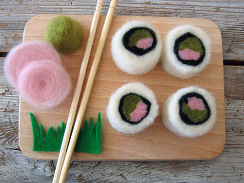 Realistic Felted Sushi Rolls