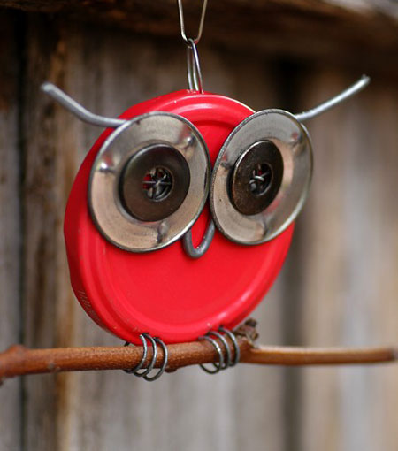 Found Object Owl Sculpture