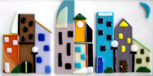 Fused Glass Cityscape Wall Art