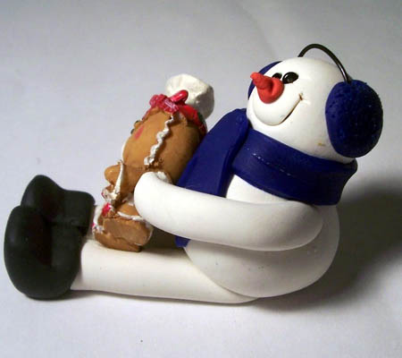 Polymer Clay Snowman and Gingerbread Figurine