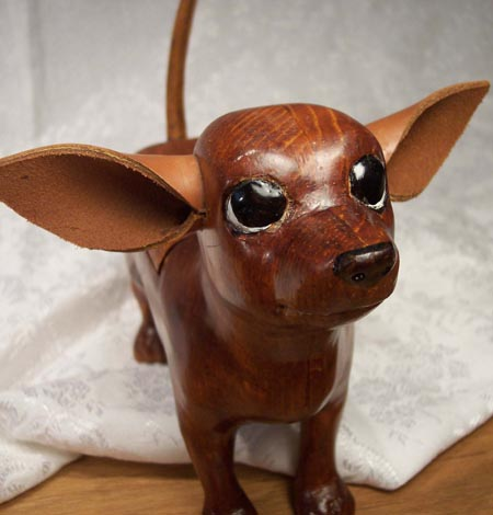Wood Carved Chihuahua Treasure Box