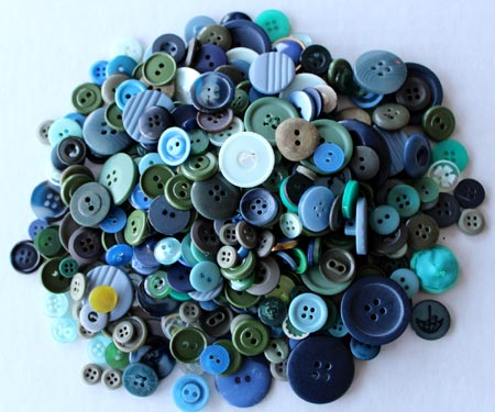 Lot of Blue and Green Vintage Buttons