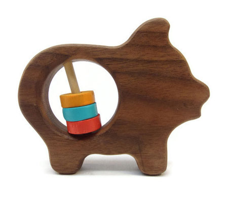 Wooden Pig Shape Baby Rattle