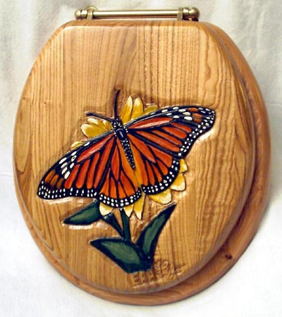 Monarch Butterfly Carved Oak Toilet Seat