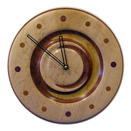 Turned Wood Cresent Clock