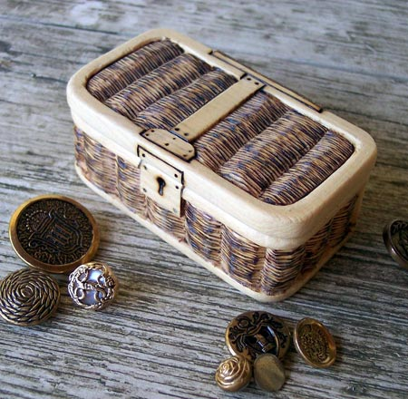 Miniature Wood Carved Wicker Trunk