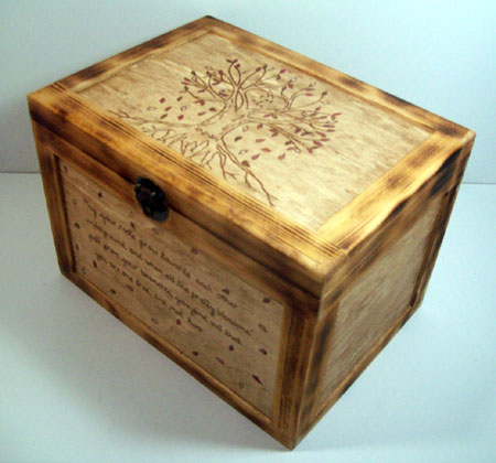 Wood Burned Heart Tree Box