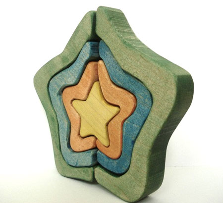 Multi-Piece Wood Stars Puzzle